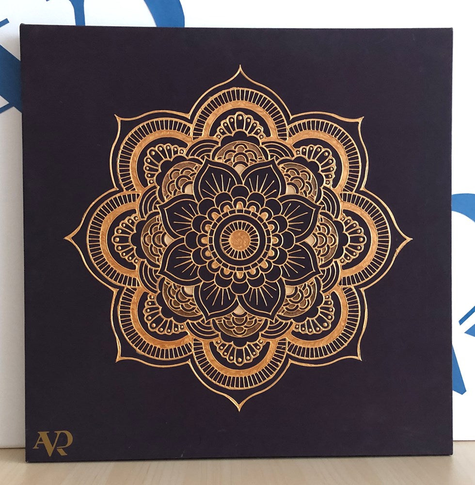 mandala frame hand painting on canvas