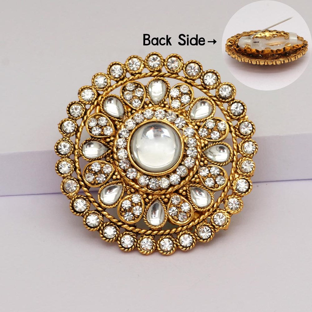 white color rhinestone beautiful broach use burkha pin & dupatta / saree pin for women