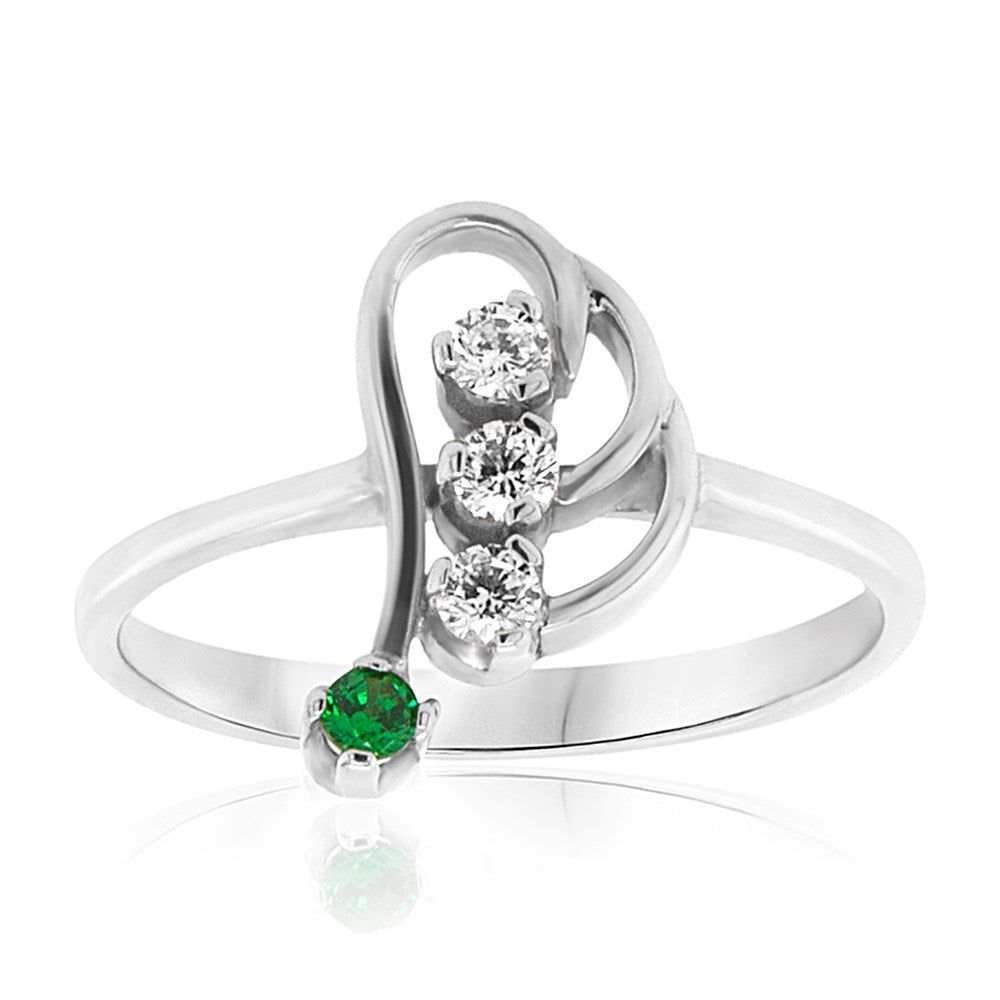 carat craft emerald fashion silver ring - us 5.5