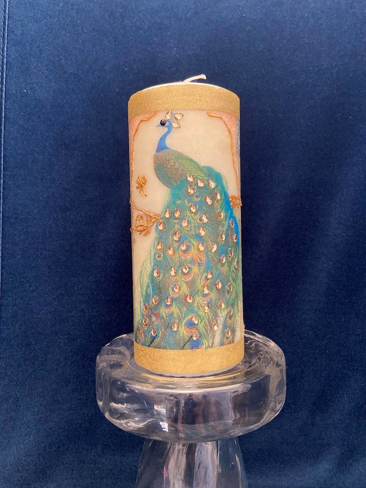 bridal peacock candle