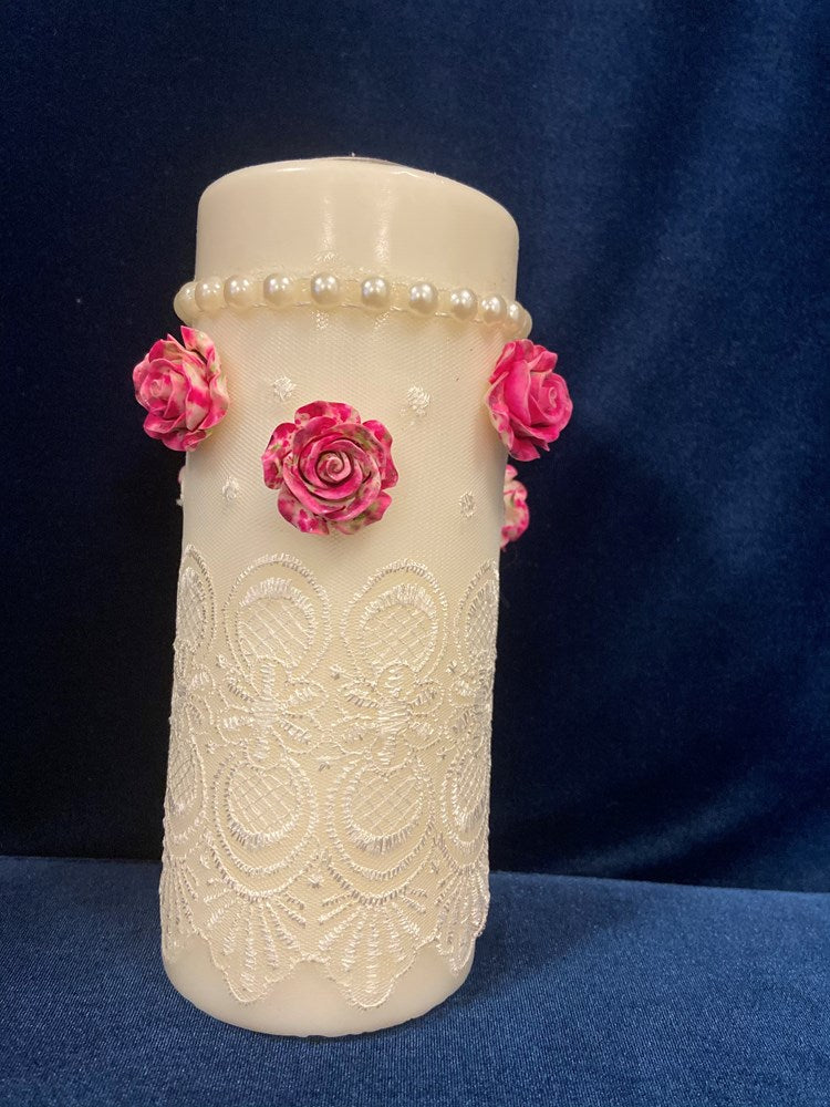 rose bridal candle