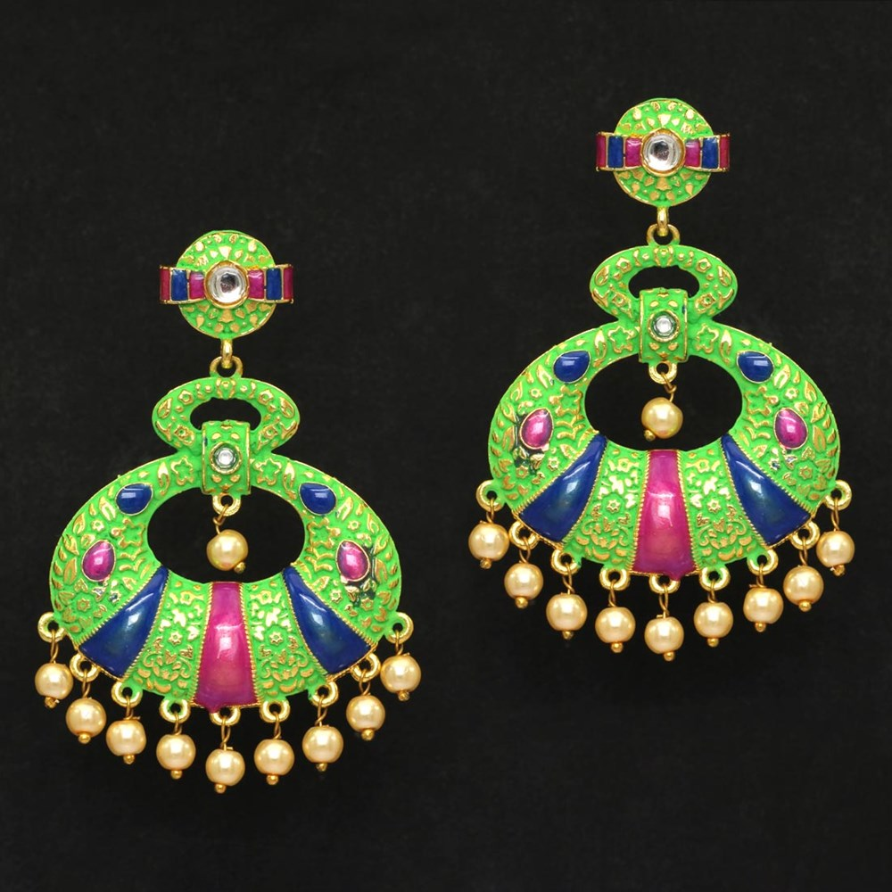 Green color kundan meenakari earrings