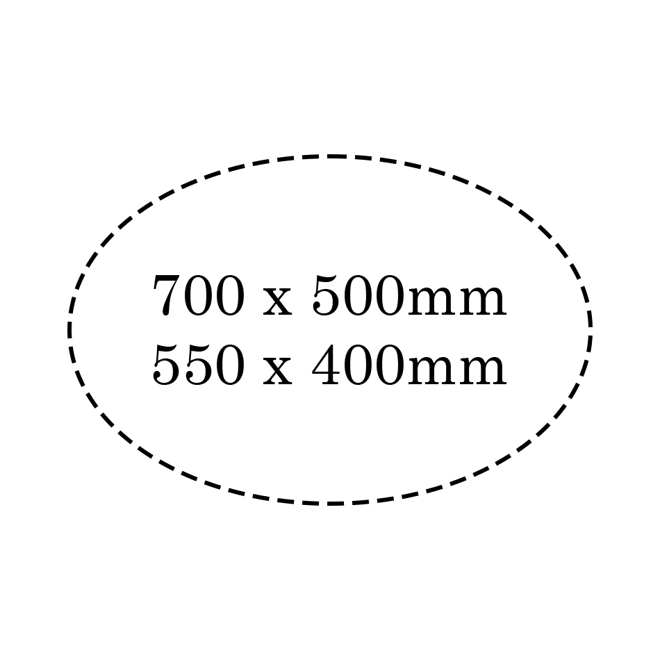 Pictogramme dimensions enseigne ovale