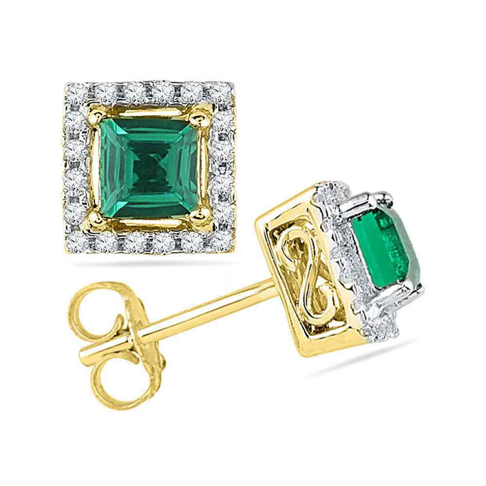 10kt Yellow Gold Womens Princess Lab-Created Emerald Solitaire Diamond Stud Earrings 1/8 Cttw