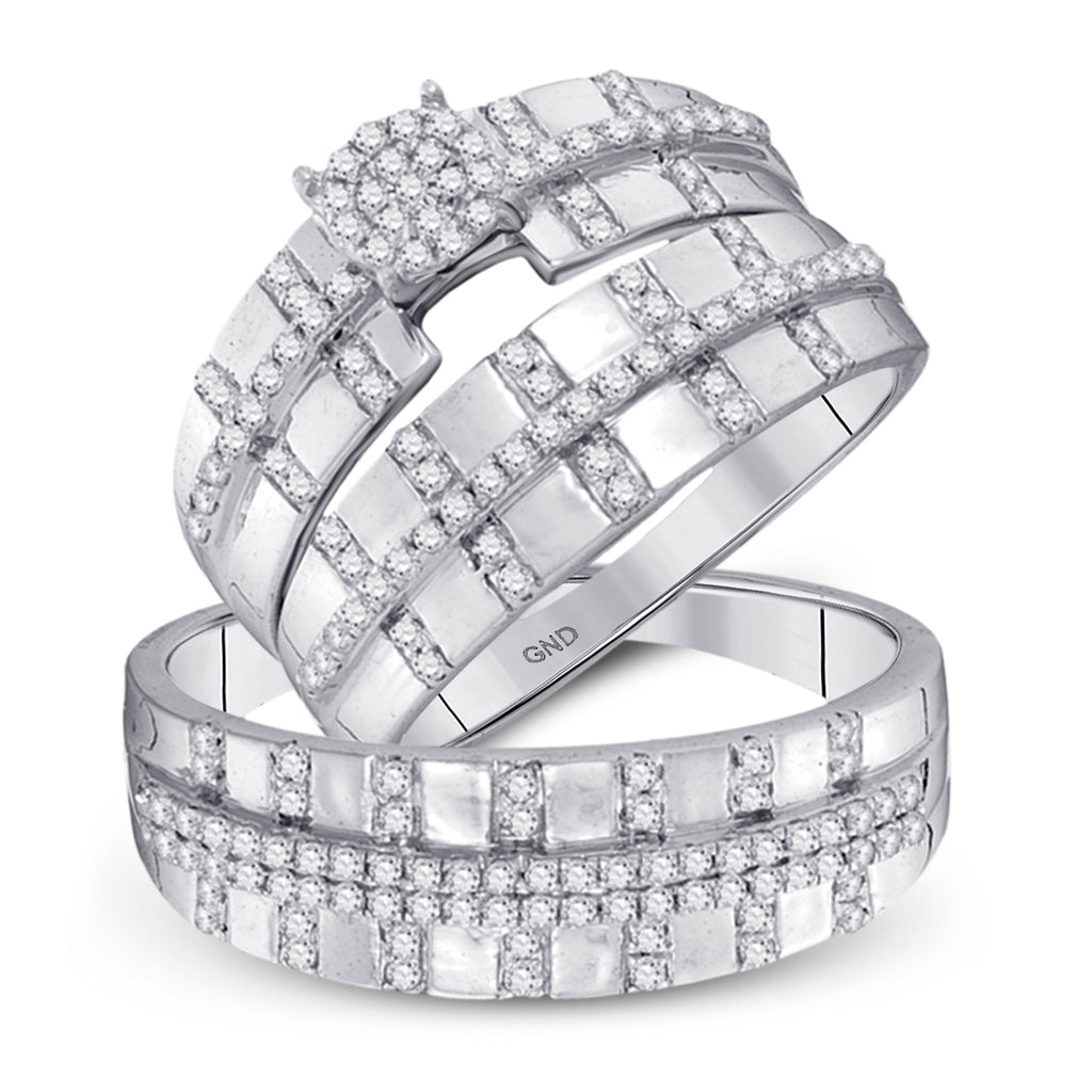 10kt White Gold His Hers Round Diamond Cluster Matching Wedding Set 5/8 Cttw