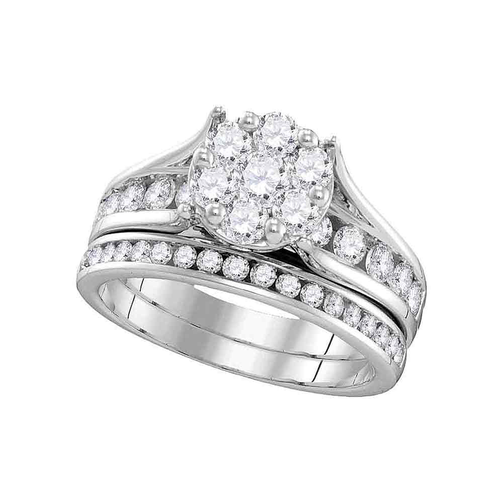 14kt White Gold Round Diamond Cluster Bridal Wedding Ring Band Set 1-1/2 Cttw