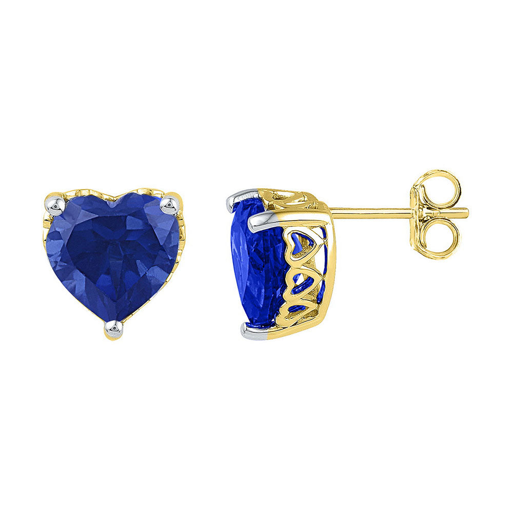10kt Yellow Gold Womens Lab-Created Blue Sapphire Heart Stud Earrings 7 Cttw