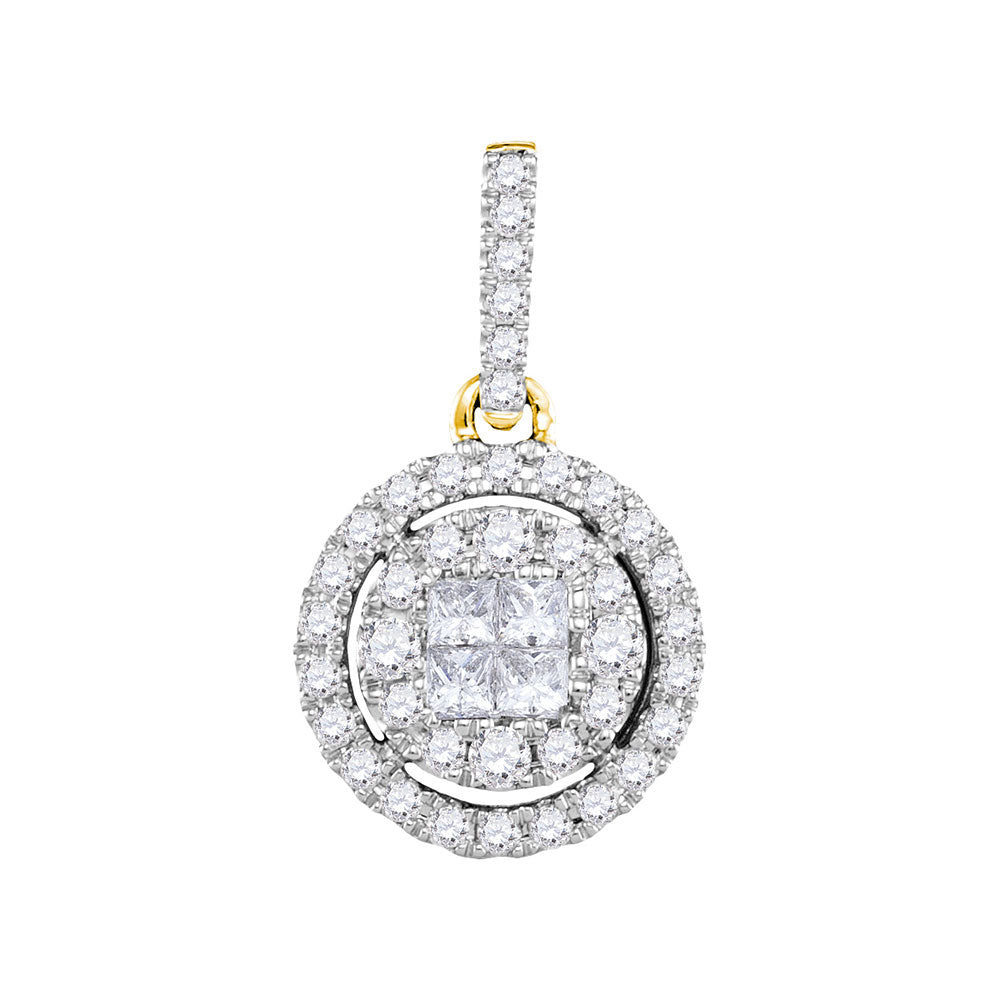 14kt Yellow Gold Womens Princess Round Diamond Framed Cluster Pendant 1/2 Cttw