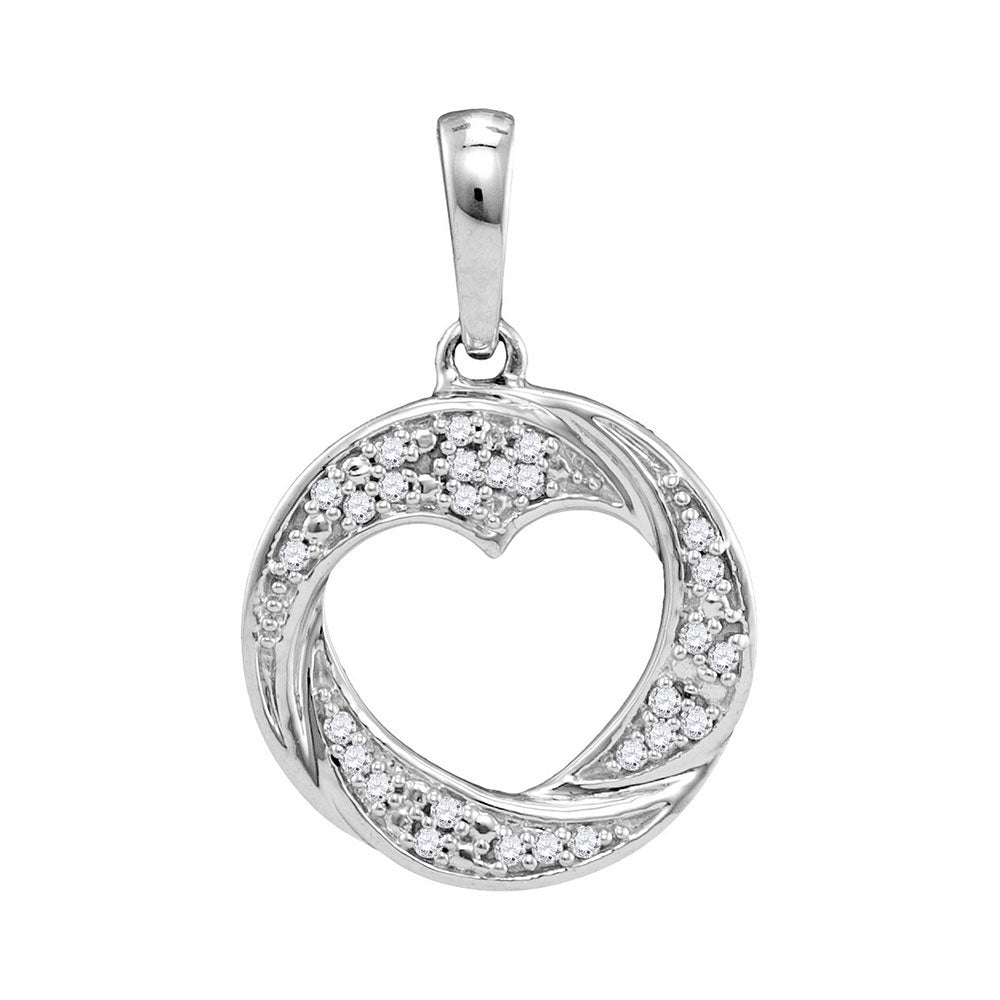 10kt White Gold Womens Round Diamond Circle Heart Cutout Pendant 1/12 Cttw