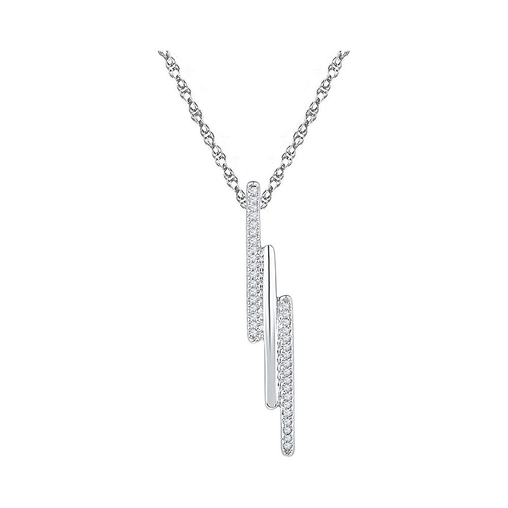 10kt White Gold Womens Round Diamond Triple Vertical Bar Pendant 1/8 Cttw