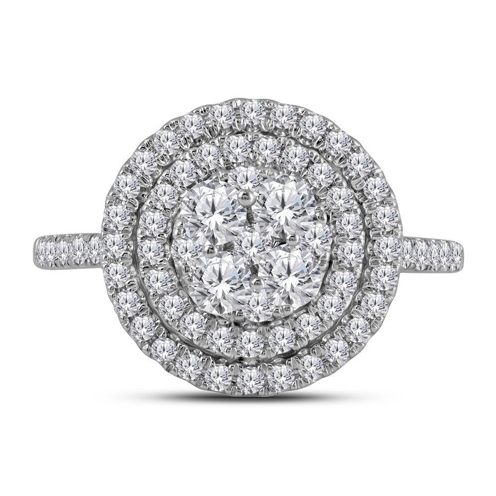 14kt White Gold Womens Round Diamond Circle Halo Cluster Ring 1 Cttw