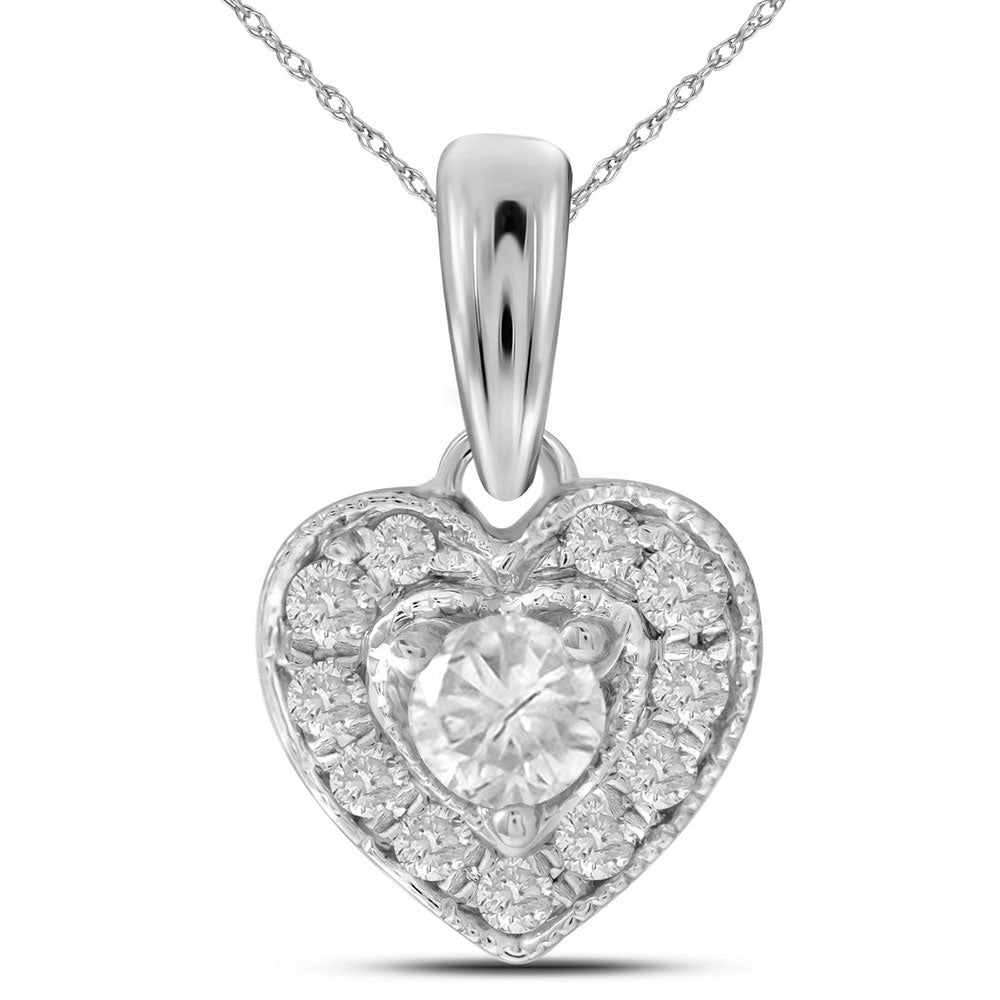 14kt White Gold Womens Round Diamond Solitaire Heart Pendant 1/4 Cttw