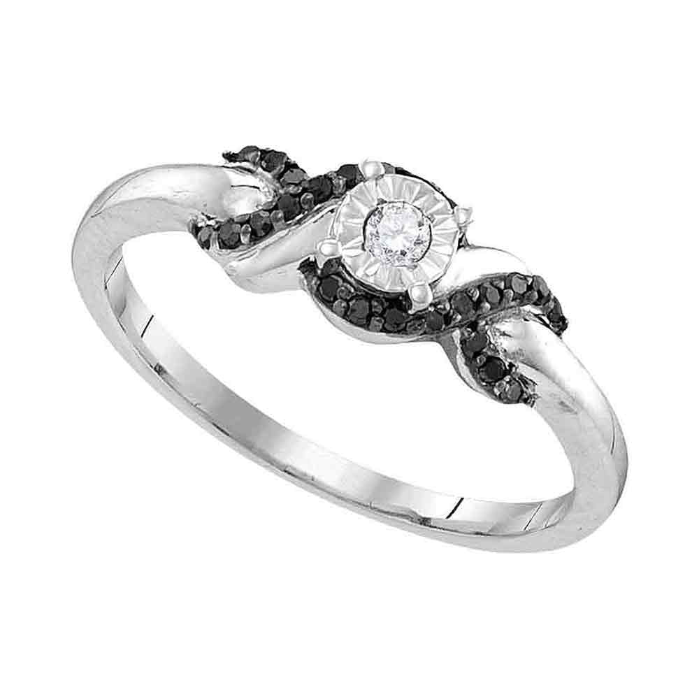 Sterling Silver Round Diamond Solitaire Bridal Wedding Engagement Ring 1/6 Cttw