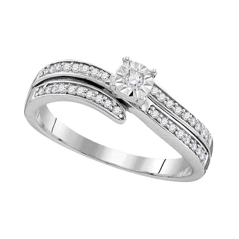 Sterling Silver Round Diamond Solitaire Bridal Wedding Engagement Ring 1/5 Cttw