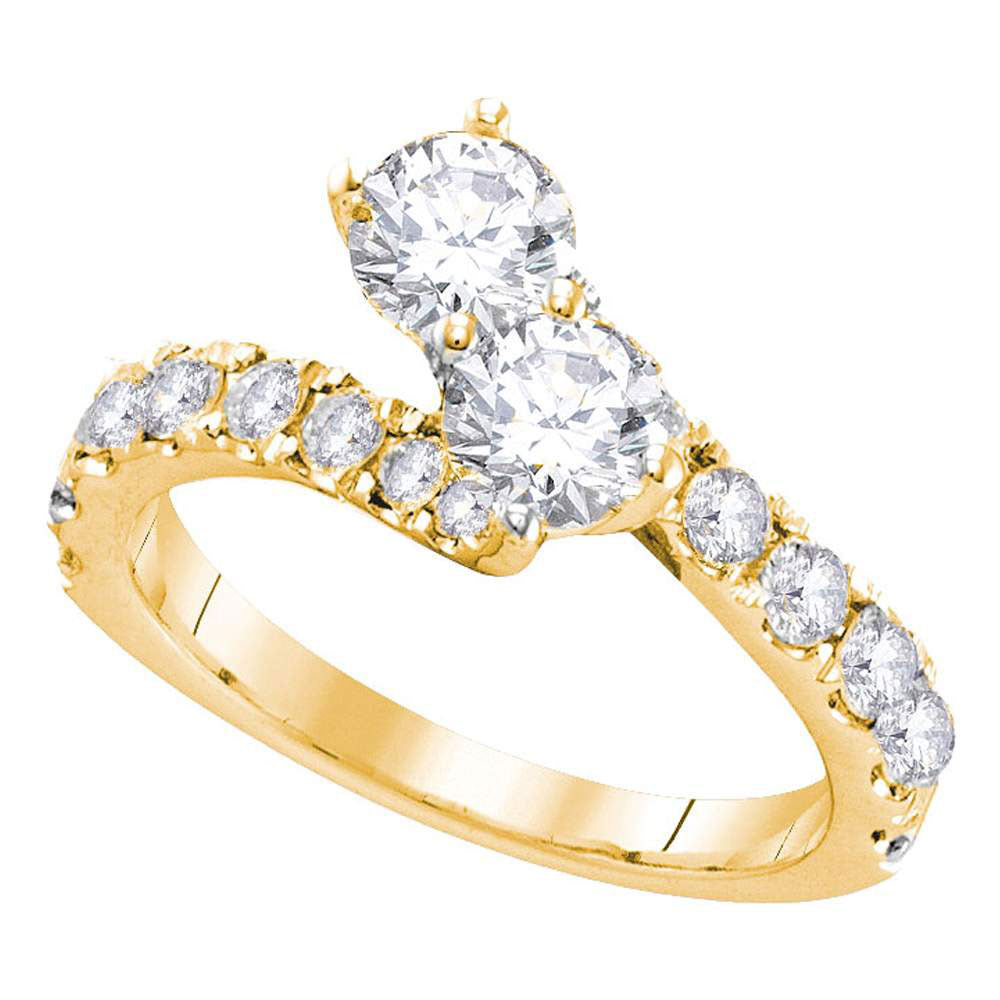 14kt Yellow Gold Round Diamond 2-stone Bridal Wedding Engagement Ring 1-1/2 Cttw