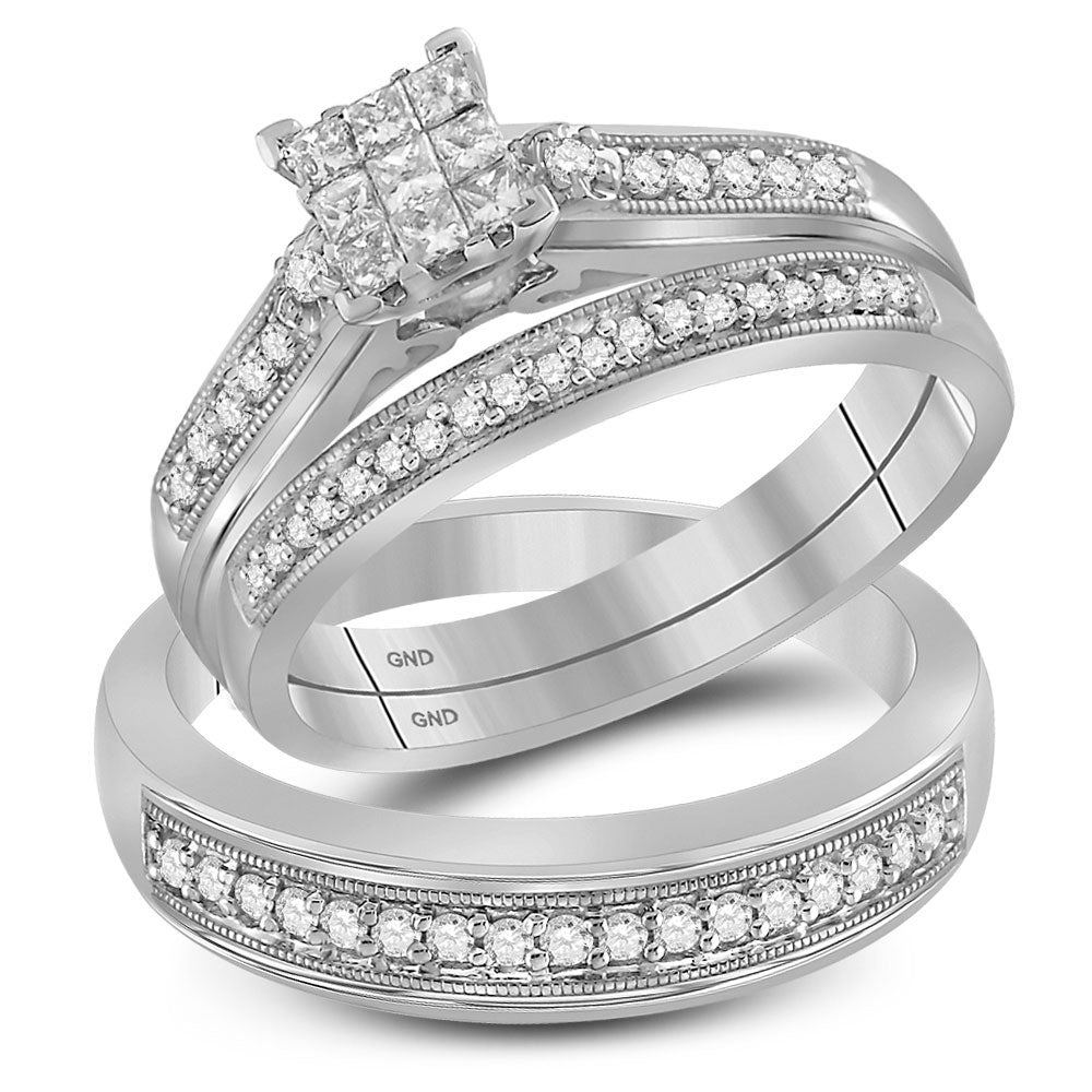 10kt White Gold His Hers Princess Diamond Cluster Matching Wedding Set 1/2 Cttw