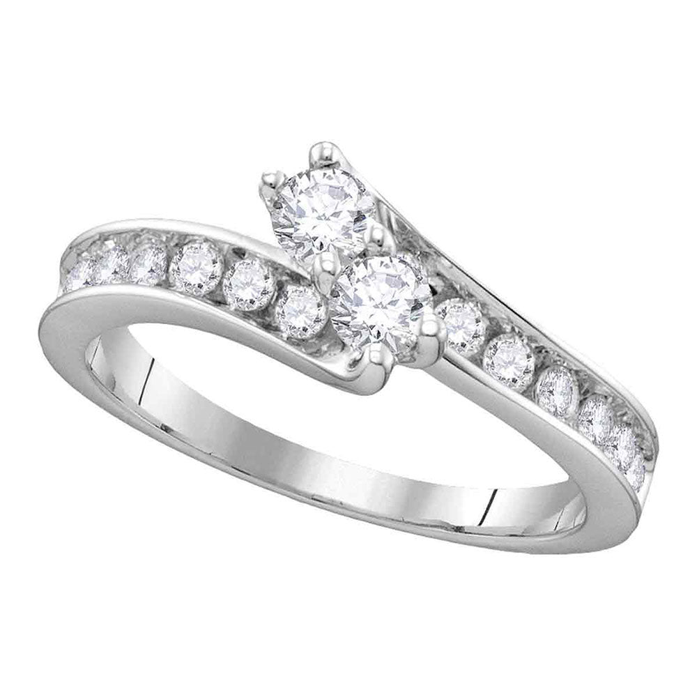 14kt White Gold Round Diamond 2-stone Bridal Wedding Engagement Ring 1-1/2 Cttw