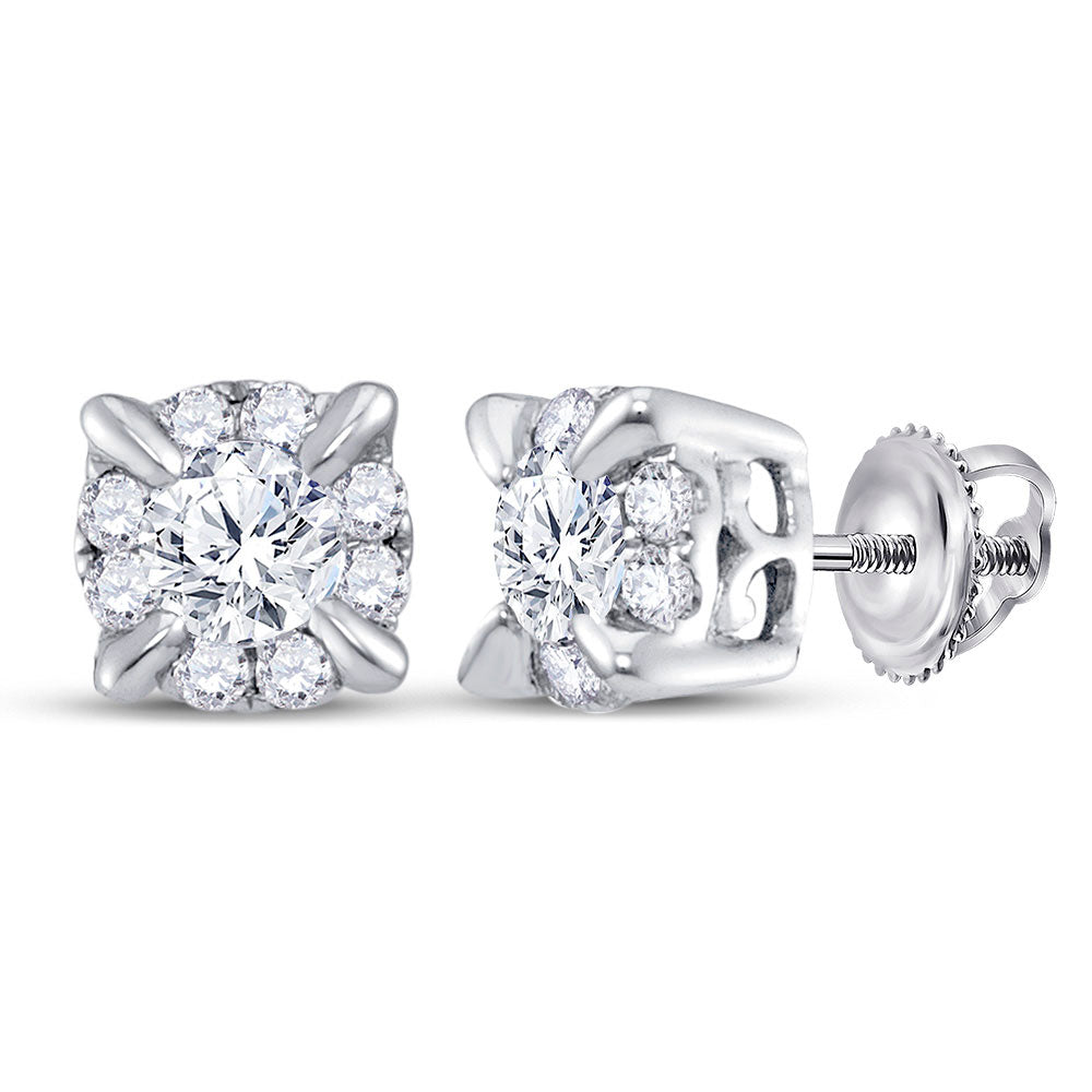 14kt White Gold Womens Round Diamond Halo Solitaire Earrings 1/4 Cttw