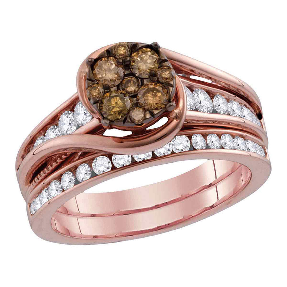 14kt Rose Gold Womens Round Brown Diamond Bridal Wedding Ring Band Set 1 Cttw