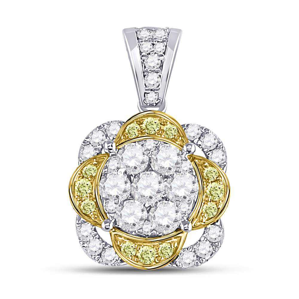 14kt White Gold Womens Round Yellow Diamond Flower Cluster Pendant 1 Cttw