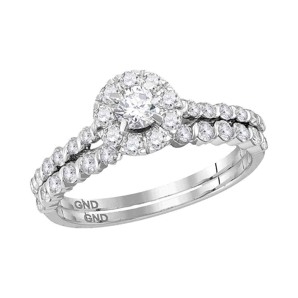 14kt White Gold Round Diamond Halo Bridal Wedding Ring Band Set 1 Cttw