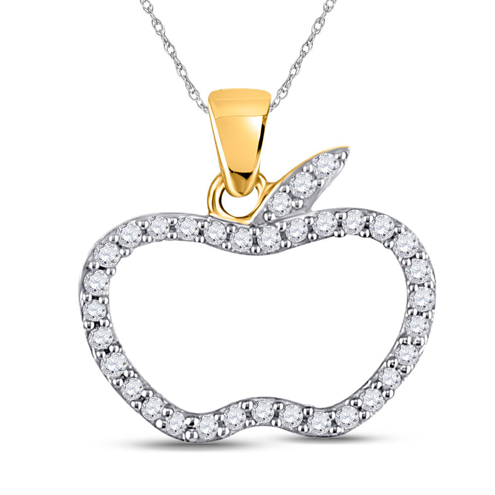 10kt Yellow Gold Womens Round Diamond Apple Outline Pendant 1/5 Cttw