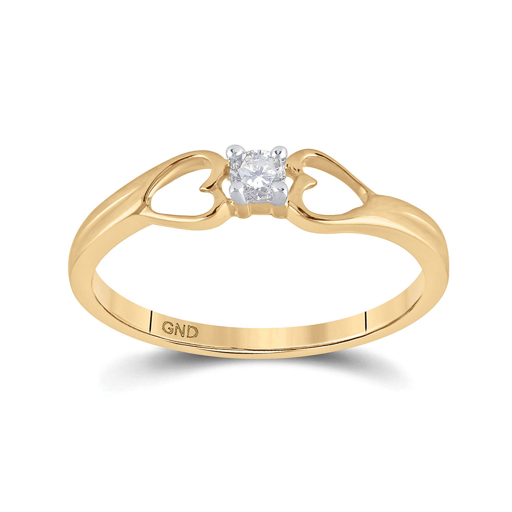10kt Yellow Gold Womens Round Diamond Solitaire Heart Promise Ring 1/10 Cttw