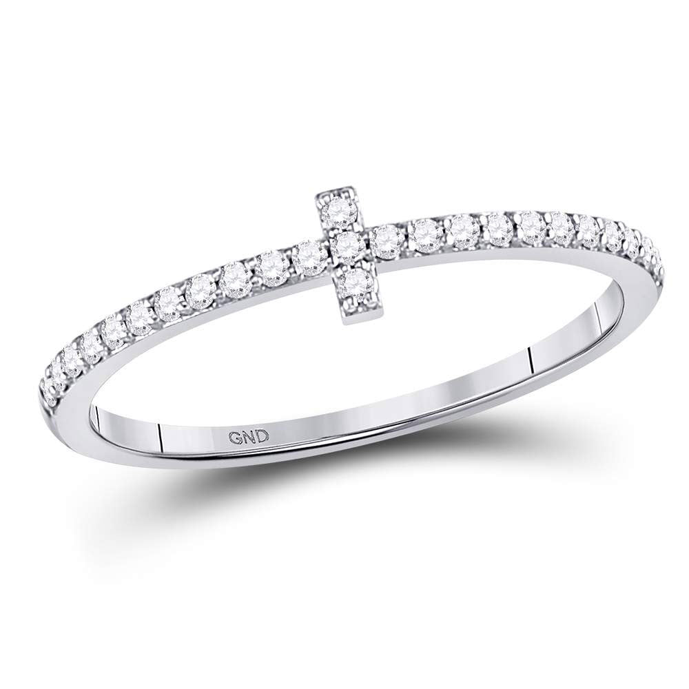 10kt White Gold Womens Round Diamond Cross Stackable Band Ring 1/6 Cttw