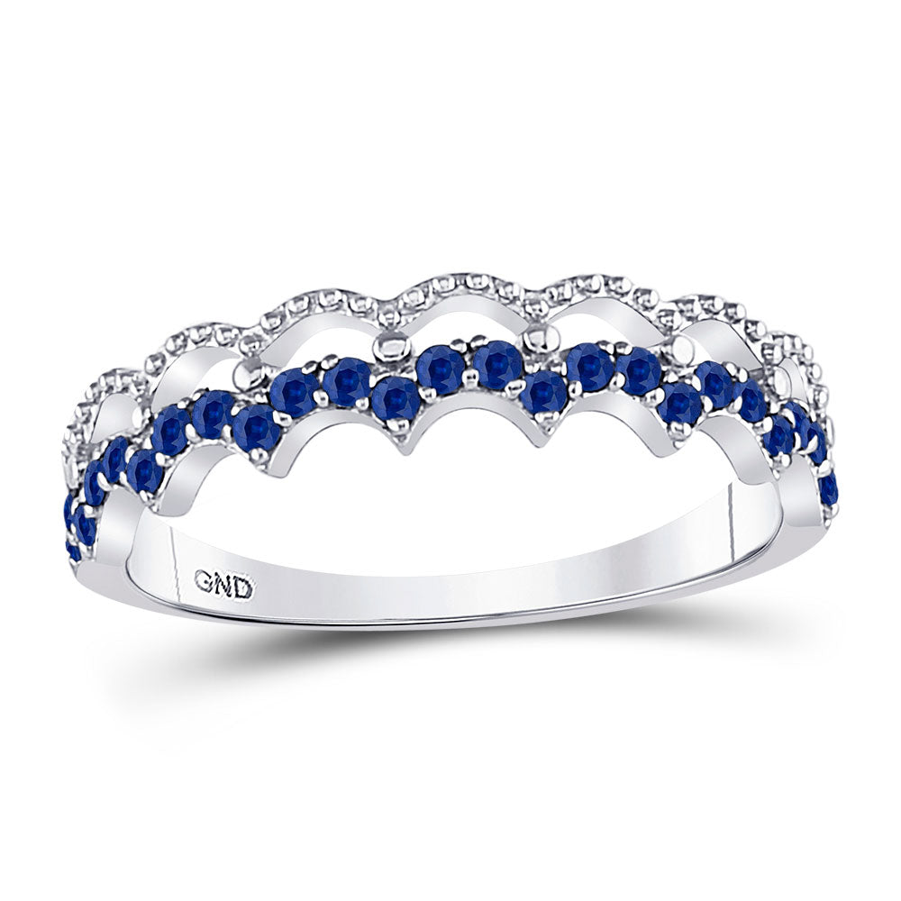 10kt White Gold Womens Round Blue Sapphire Scalloped Stackable Band Ring 1/4 Cttw