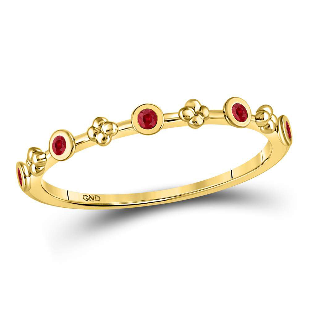 10kt Yellow Gold Womens Round Ruby Dot Flower Stackable Band Ring 1/12 Cttw