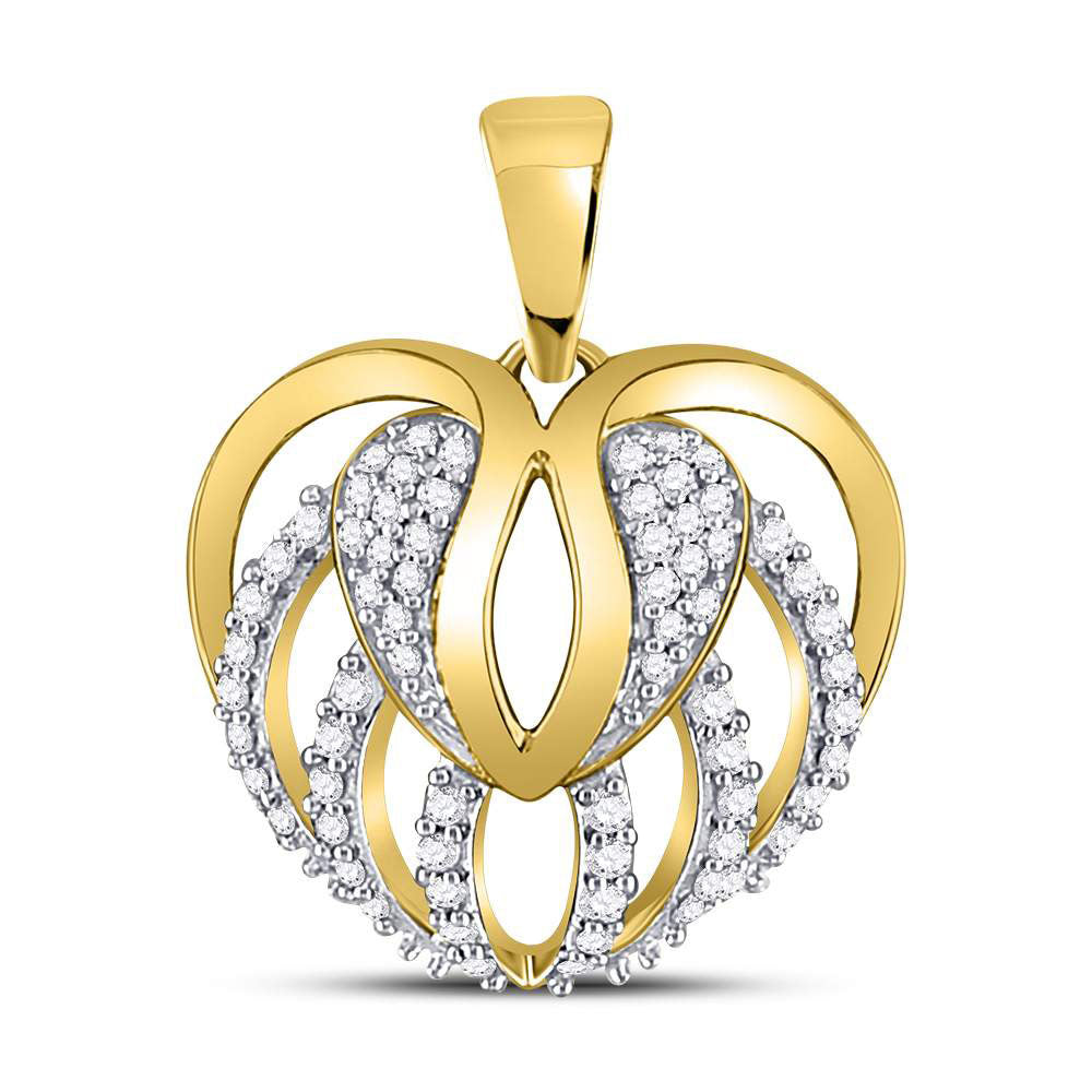 10kt Yellow Gold Womens Round Diamond Heart Open Strand Pendant 1/5 Cttw
