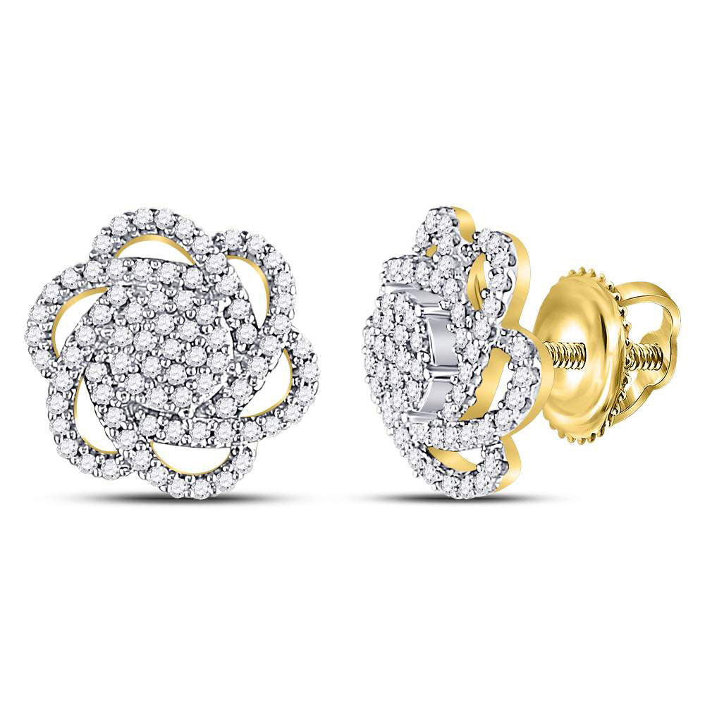 10kt Yellow Gold Womens Round Diamond Pinwheel Cluster Earrings 3/8 Cttw