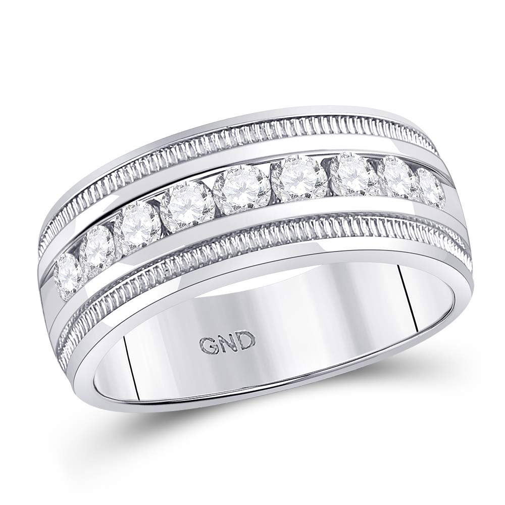 14kt White Gold Mens Round Diamond Single Row Textured Wedding Band Ring 1 Cttw