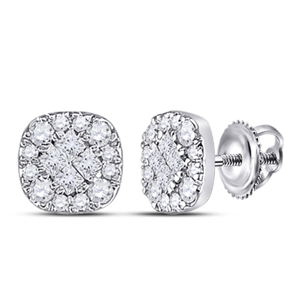 14kt White Gold Womens Princess Round Diamond Square Cluster Earrings 1/4 Cttw