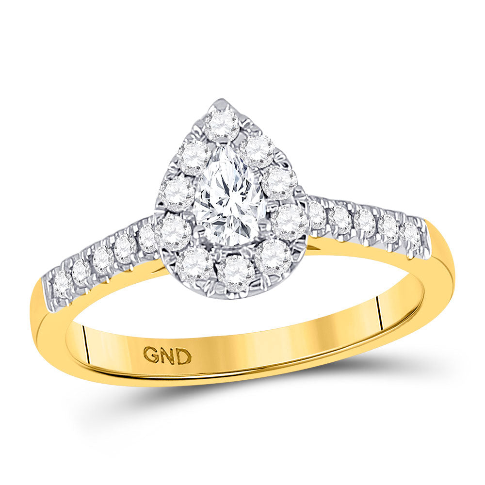 14kt Yellow Gold Pear Diamond Solitaire Bridal Wedding Engagement Ring 1/2 Cttw