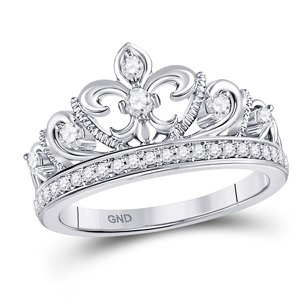10kt White Gold Womens Round Diamond Fleur-de-lis Crown Ring 1/3 Cttw