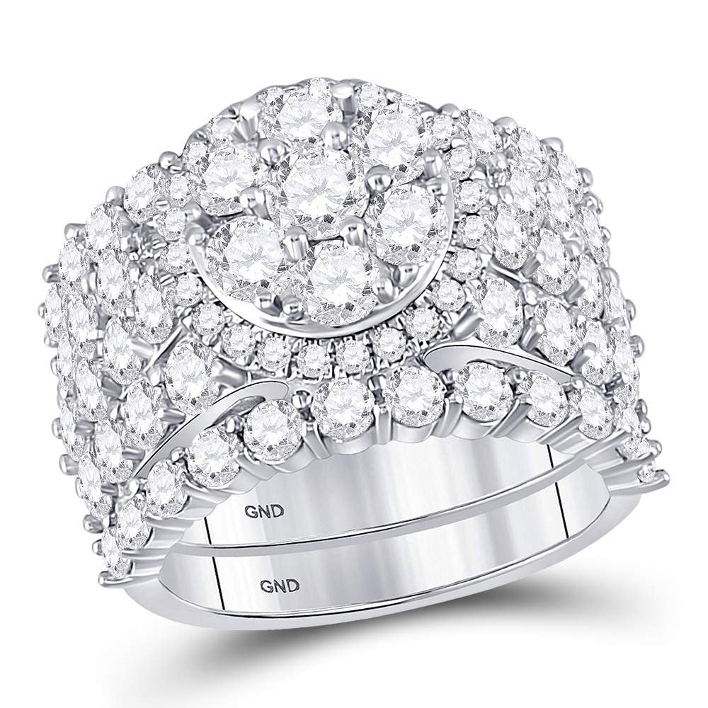 14kt White Gold Round Diamond Cluster Bridal Wedding Ring Band Set 5 Cttw