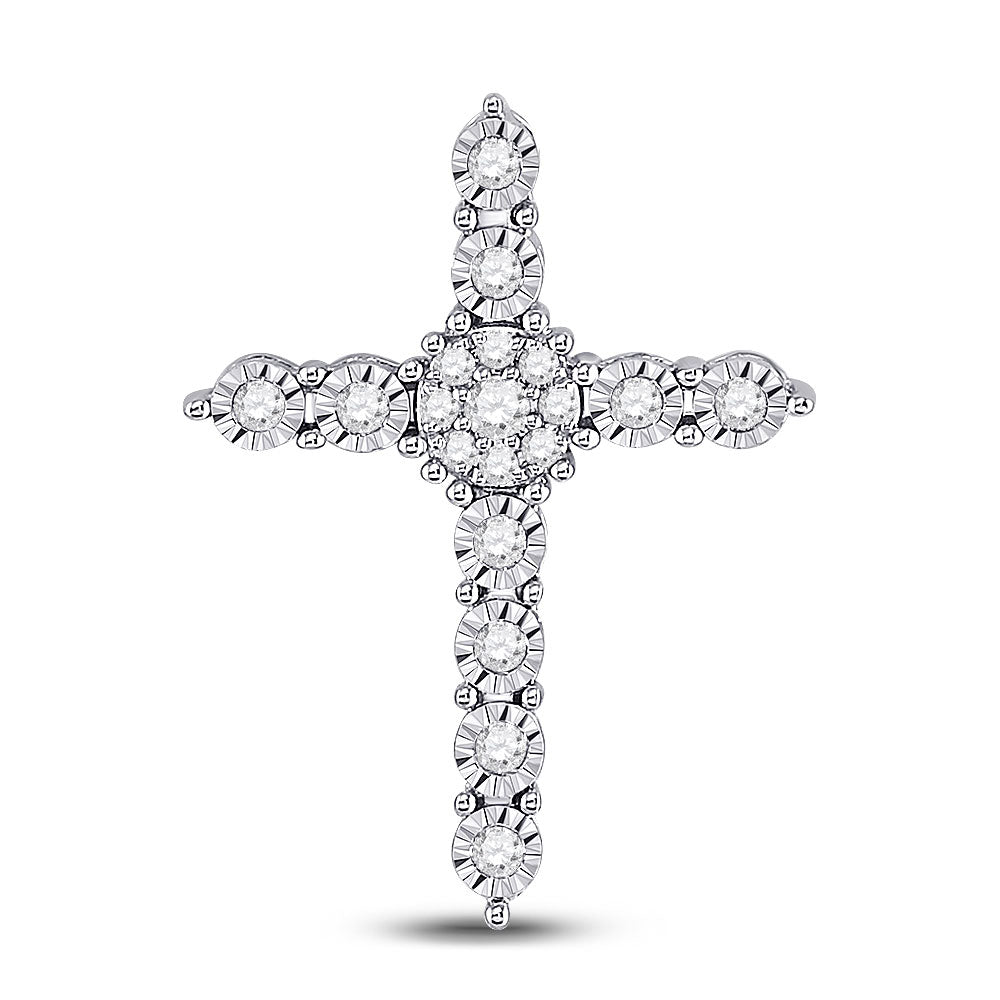 14kt White Gold Womens Round Diamond Religious Cross Pendant 1/4 Cttw