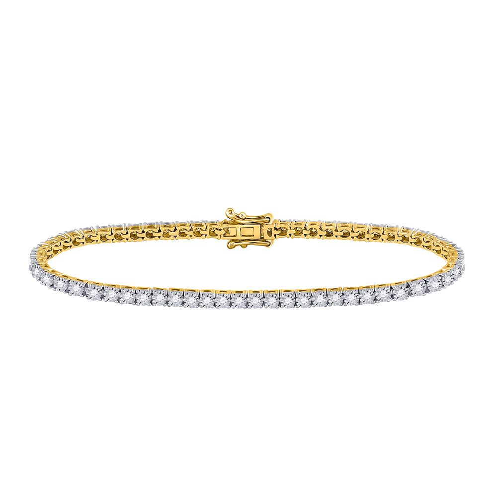 10kt Yellow Gold Womens Round Diamond Classic Tennis Bracelet 1 Cttw