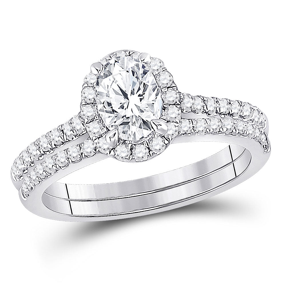 14kt White Gold Oval Diamond Bridal Wedding Ring Band Set 1-1/3 Cttw