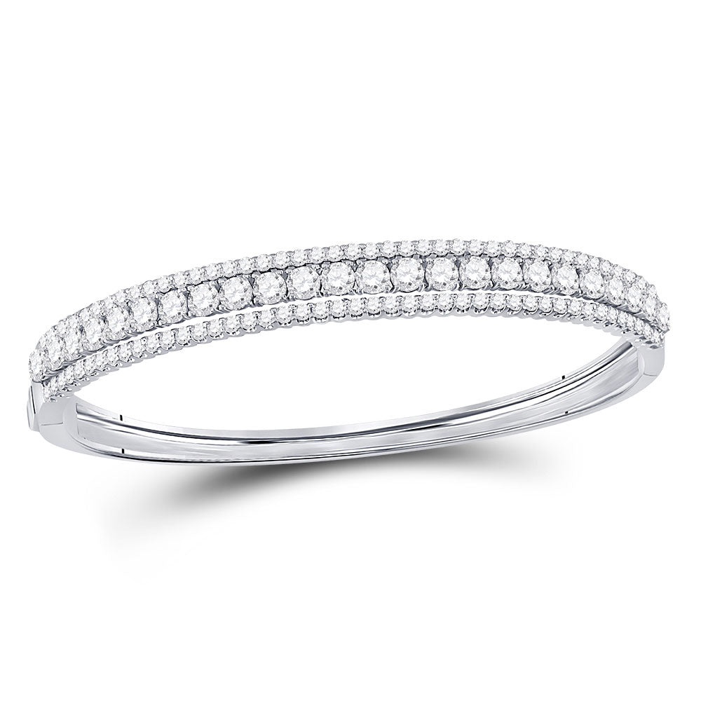 14kt White Gold Womens Round Diamond 3-Row Bangle Bracelet 5 Cttw