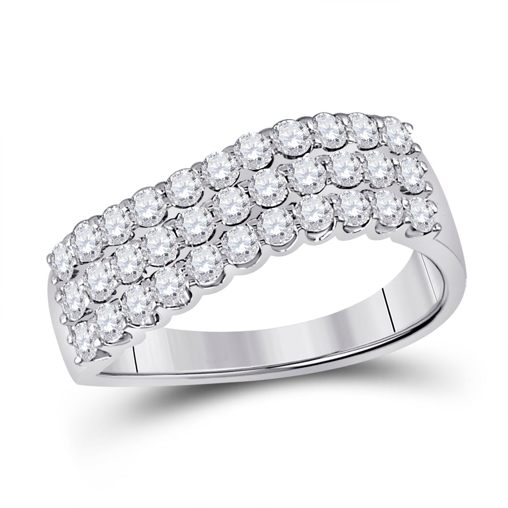14kt White Gold Womens Round Diamond Contoured Triple Row Band Ring 1 Cttw