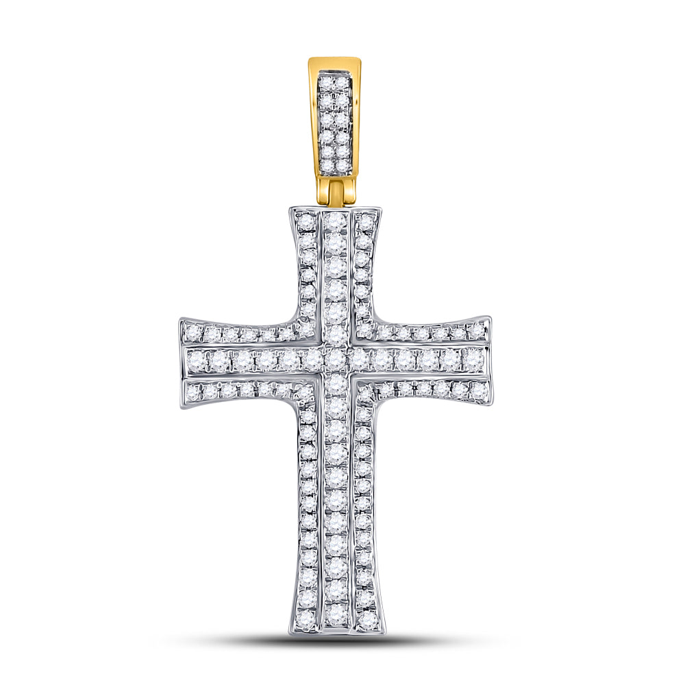 14kt Yellow Gold Mens Round Diamond Cross Charm Pendant 1-1/2 Cttw