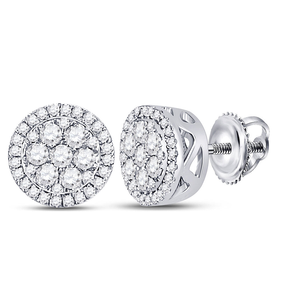 10kt White Gold Womens Round Diamond Flower Cluster Earrings 3/8 Cttw