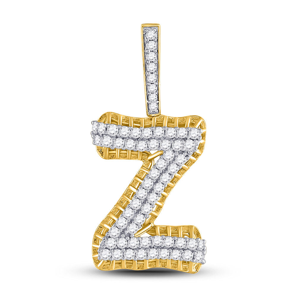 10kt Yellow Gold Mens Round Diamond Z Letter Charm Pendant 1-1/5 Cttw