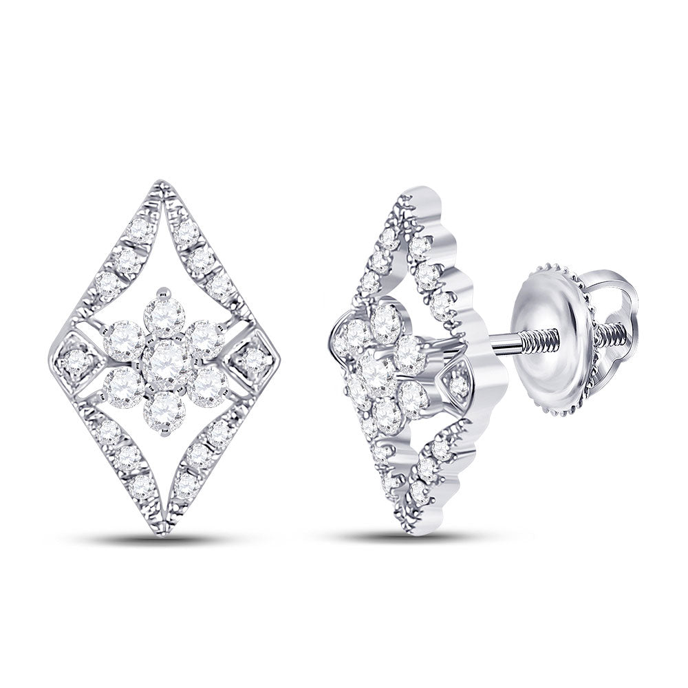 14kt White Gold Womens Round Diamond Geometric Cluster Earrings 3/8 Cttw