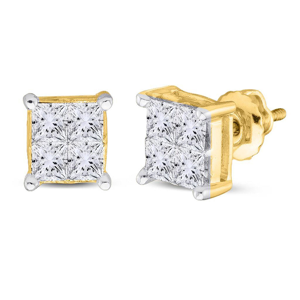 14kt Yellow Gold Womens Princess Diamond Square Cluster Stud Earrings 1 Cttw