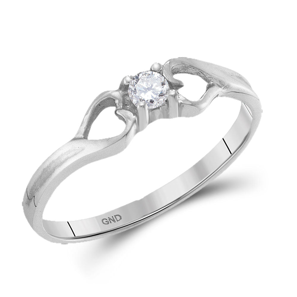 10kt White Gold Womens Round Diamond Solitaire Heart Promise Ring 1/10 Cttw