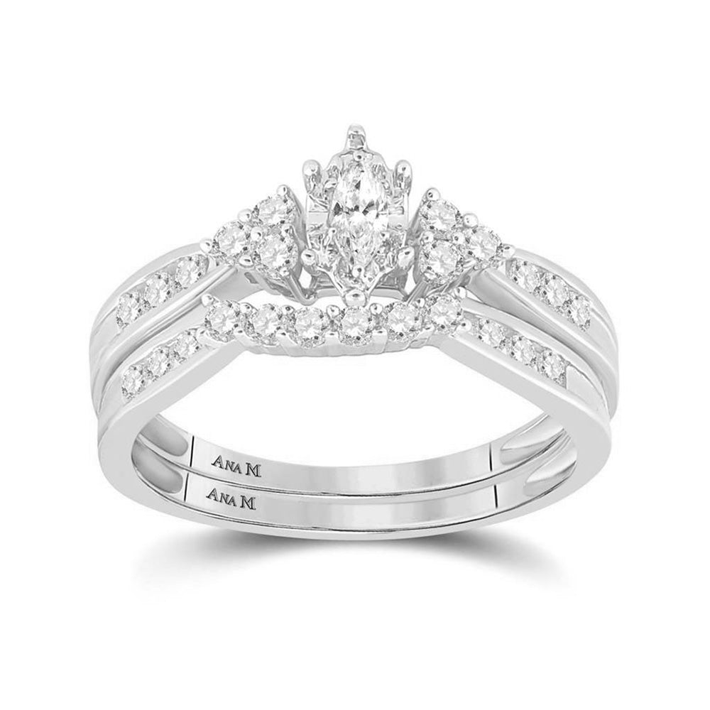 14kt White Gold Marquise Diamond Bridal Wedding Ring Band Set 1/2 Cttw