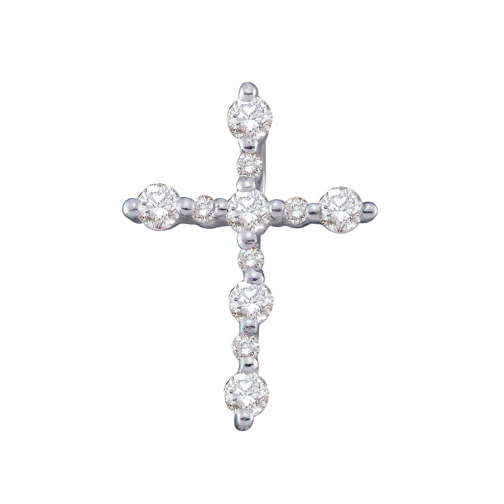 14kt White Gold Womens Round Diamond Simple Cross Religious Pendant 1/3 Cttw